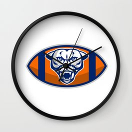 Cougar Mountain Lion Football Ball Retro Wall Clock