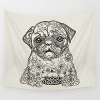 persian Wall Tapestries featuring Persian Pug by Huebucket
