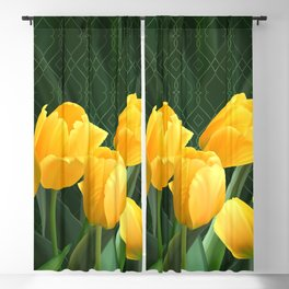 Yellow Tulips with Pattern Blackout Curtain