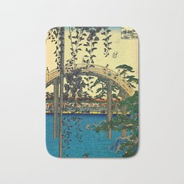 Hiroshige View Of Bridge Over Water Bath Mat