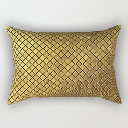 Gold yellow square mosaic tiles texutre illustration pattern. Abstract geometric background. Rectangular Pillow