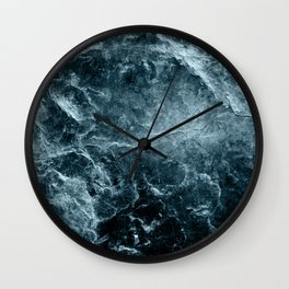 Enigmatic Deep Blue Ocean Marble #1 #decor #art #society6 Wall Clock