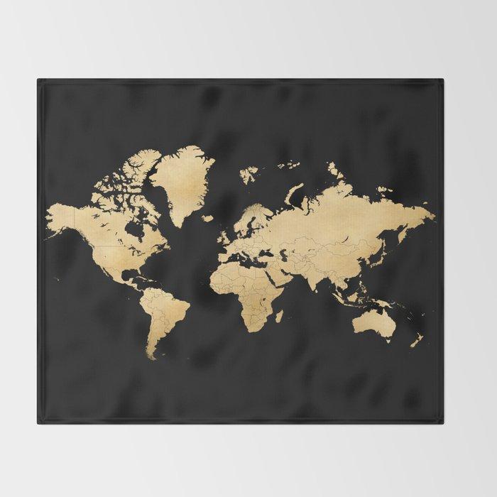 Sleek Black And Gold World Map Throw Blanket By Blursbyaishop Society6
