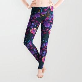 Fluro Floral Watercolour Flower Pattern Leggings