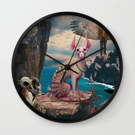 Birds with Cat Wall Clock