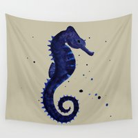 sea horse Wall Tapestries featuring Sea Horse by Chrystal Elizabeth