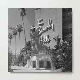 Beverly Hills Hotel, California black and white photograph / black and white photography Metal Print