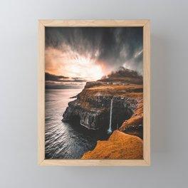 gasadalur at faroe Framed Mini Art Print
