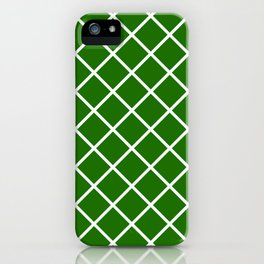 Bright green and white square pattern iPhone Case