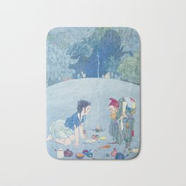 Elf and Young Girl in the Woods Arguing over Food Bath Mat