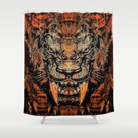tooth Shower Curtains featuring Saber Tooth by Zandonai