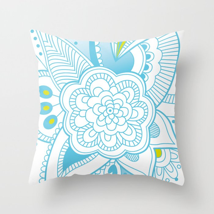 Hindi Pattern Blue Throw Pillow By Nicky40 Society40 Best How To Stitch Pillow Cover In Hindi