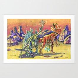 Robo Dinos Art Print