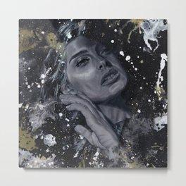 "Black and white female portrait - ""Vanishing"" Metal Print"