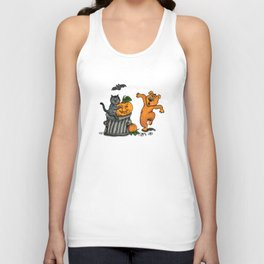 Happy Halloween with Cat, Bat, Dog and Spider Unisex Tank Top