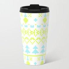 3 Knitted Christmas pattern in retro style pattern Metal Travel Mug