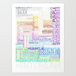 All html colors in word and color Art Print