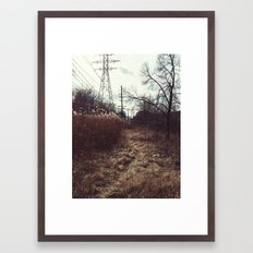 Pathway in the field Framed Art Print