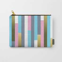 Colorful vertical wood planks pattern Carry-All Pouch