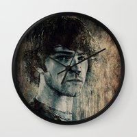 sam winchester Wall Clocks featuring Sam Winchester by Sirenphotos