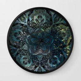 Flower mandala -night Wall Clock