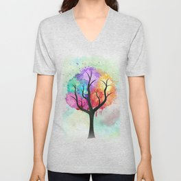 Awesome abstract pastel colors oil paint tree of Life Unisex V-Neck