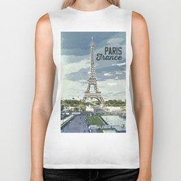 Paris, France / Vintage style poster Biker Tank
