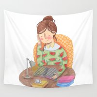 reading Wall Tapestries featuring Reading by Maria Garcia