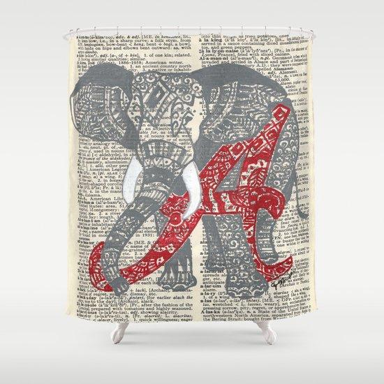 Delightful Roll Tide (Alabama Elephant) Shower Curtain