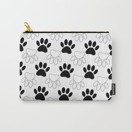 Black And White Dog Paw Print Pattern Carry-All Pouch