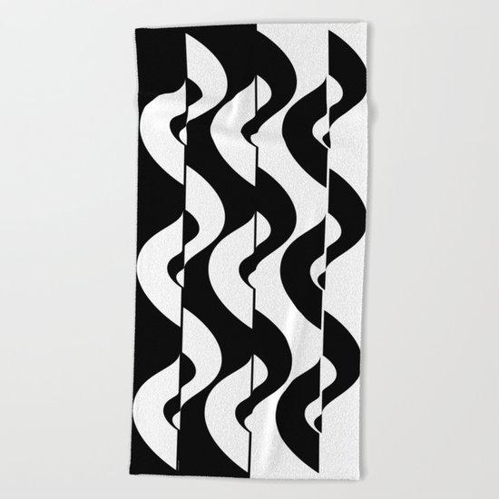 OpArt Waves Beach Towel