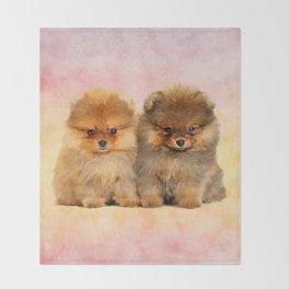 Cute Pomeranian Puppies Throw Blanket