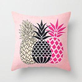 Pineapple in Pink , tropical , hawaii , summer , fruit , pineapple print , pineapple design Throw Pillow
