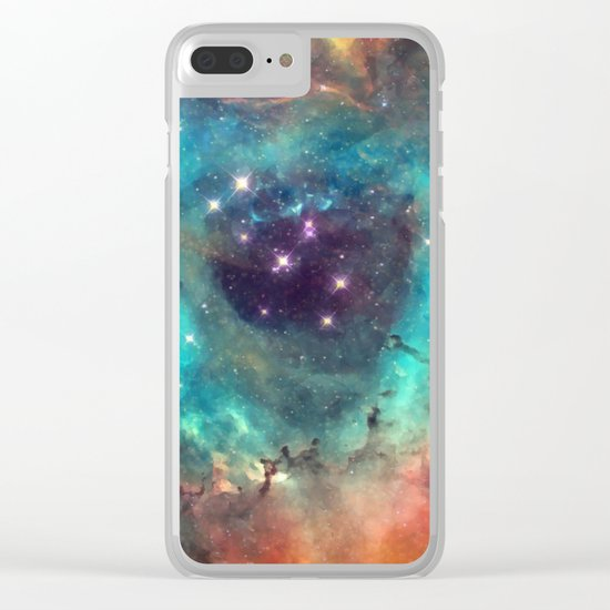 Colorful Nebula Galaxy Clear iPhone Case