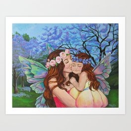 Mother and Daughter Fairies Art Print