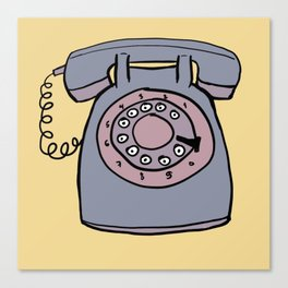 Rotary phone in yellow Canvas Print