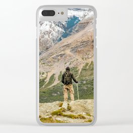 Man at Top of Andes Mountains, Patagonia - Argentina Clear iPhone Case