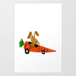 Funny Brown Bunny Rabbit Driving Carrot Car Original Artwork Art Print