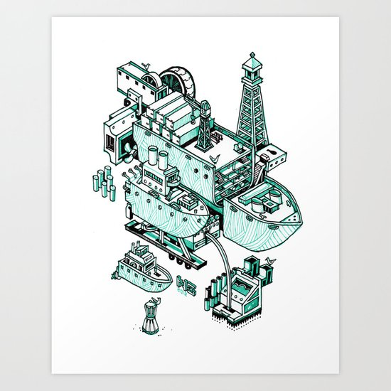 Small City - Green Art Print