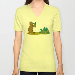 Pineapple Harvesting Bear Unisex V-Neck