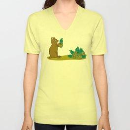 Pineapple Harvesting Bear Unisex V-Neck