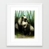pandas Framed Art Prints featuring Pandas by Gilthonniel's Shop