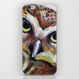 Burrowing Owl Palette Knife Painting in Oil by Award Winning San Francisco Bay Artist Lisa Elley iPhone Skin
