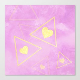 Pink Heart Blanket Canvas Print