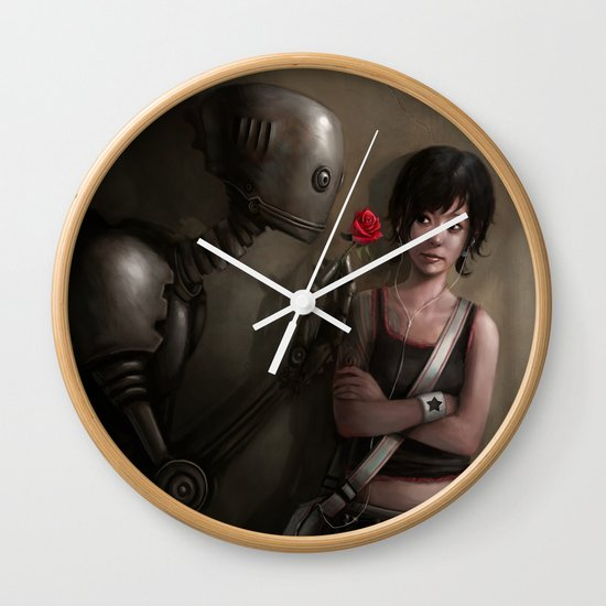 Robot In Love Wall Clock