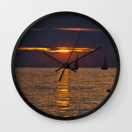 Summer sunset on the Baltic Sea Wall Clock