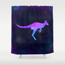WALLABY IN SPACE // Animal Graphic Art // Watercolor Canvas Painting // Modern Minimal Cute Shower Curtain