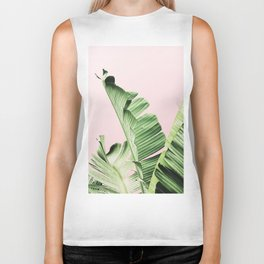 Banana Leaf on pink Biker Tank