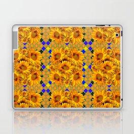 GOLDEN  YELLOW SUNFLOWERS GOLD & PURPLE PATTERN Laptop & iPad Skin