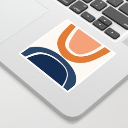 Abstract Shapes 7 in Burnt Orange and Navy Blue Sticker